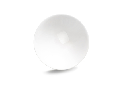 Transparent crystal ball with white background, close up.