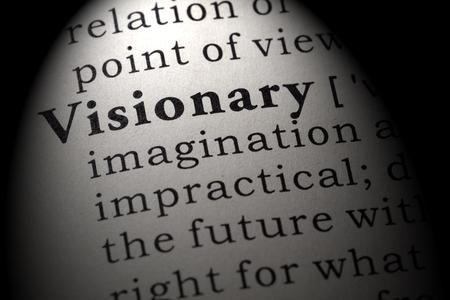 Diccionario falso, definición de diccionario de la palabra visionario. incluyendo palabras descriptivas clave.