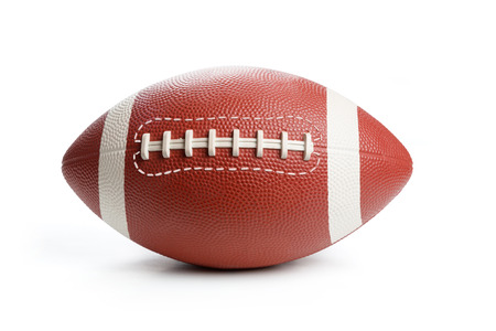American Football isoliert auf weiss, Nahaufnahme.