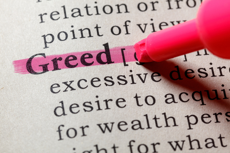 Fake Dictionary, Dictionary definition of the word greed . including key descriptive words. 版權商用圖片