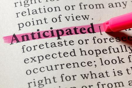 Fake Dictionary, Dictionary definition of the word anticipated . including key descriptive words. Banco de Imagens