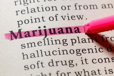 Fake Dictionary, Dictionary definition of the word marijuana. including key descriptive words. Banco de Imagens