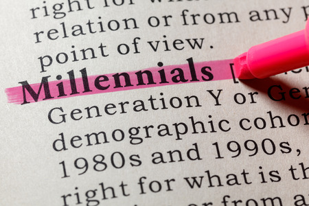 Fake Dictionary. Dictionary definition of the word millennials. Including key descriptive words.