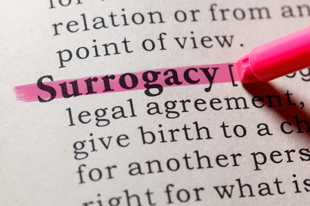 Fake Dictionary. Dictionary definition of the word surrogacy. Including key descriptive words.