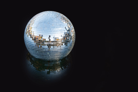Silver disco mirror ball close up shot Banco de Imagens