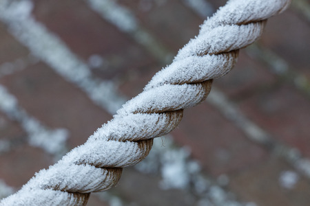 Frosted winter rope close up for background Stock Photo