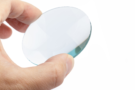 Optical convex lens, glass lens close up. 版權商用圖片