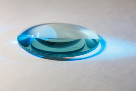 Optical convex lens, glass lens close up. 写真素材
