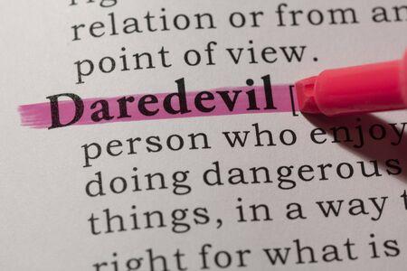Fake Dictionary, Dictionary definition of word daredevil. Archivio Fotografico