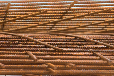 reinforced: steel rebar for reinforced concrete Stock Photo