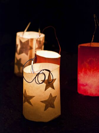 christmas ground: Christmas Eve lanterns on the ground in the dark
