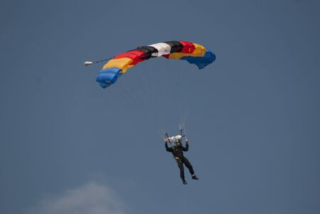Parachute Sky Driver Descending  Stock Photo
