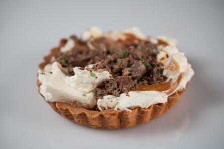 Peppermint Crisp Tart on solid backbround Stock Photo