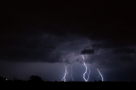 Multiple cloud to ground lightning photo