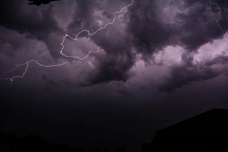 Lightning in Night Skies Stock Photo