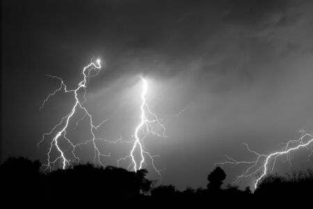 Lightning, Weather and Storms in night skies Stock Photo