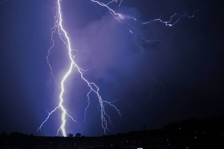 Bing Bang lightning strike on the horizon Stock Photo
