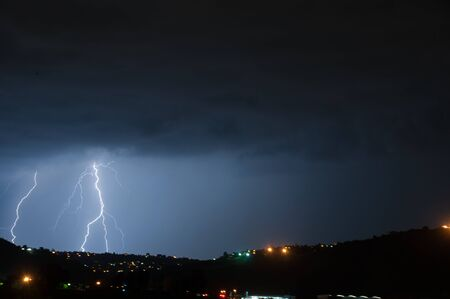 Cloud to ground lightning lighting up the night skies