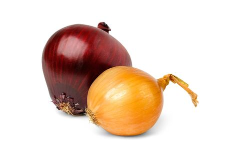 Two onions isolated on white background photo