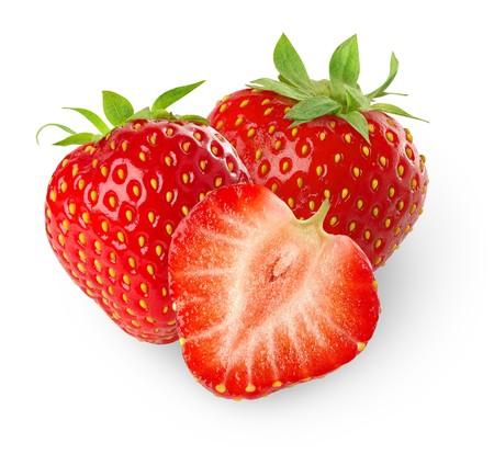 Beautiful strawberries isolated on white Stockfoto