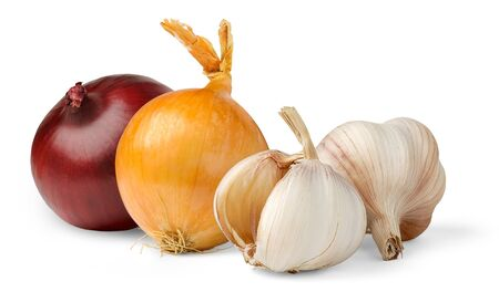 fresh garlic: Garlic and onions isolated on white