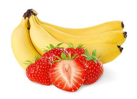 banane: Fraises isol�s sur fond blanc et les bananes Banque d'images