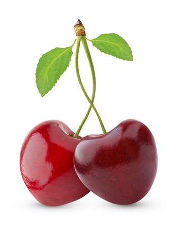 Sweet cherries isolated on white Stock Photo