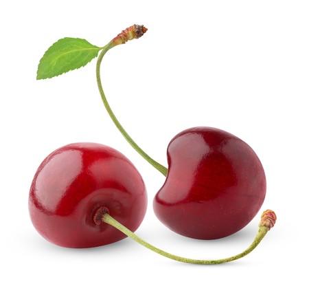 Sweet cherry isolated on white photo