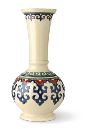 antique vase: Vase with oriental ornament isolated on white
