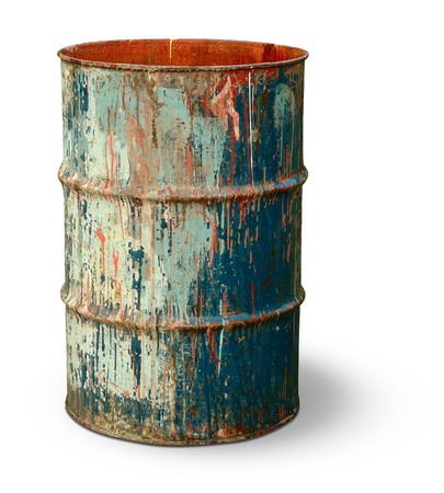 old container: Old rusty metal barrel