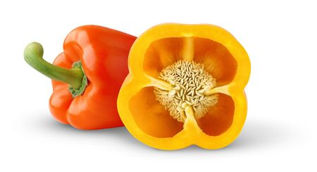 Two bell peppers isolated on white photo