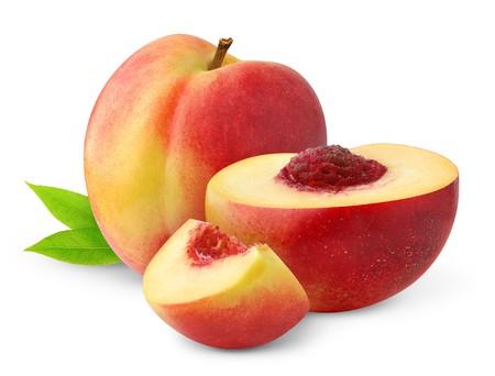 Peaches isolated on white photo