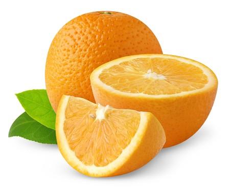 sweet segments: Oranges isolated on white Stock Photo