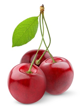 pulpy: Sweet cherry isolated on white