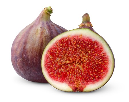 cross cut: Fresh figs isolated on white Stock Photo