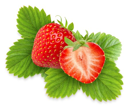 Two strawberries with leaves isolated on white Stock Photo