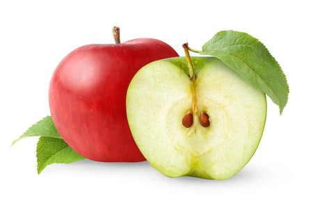 Red and grean apples with leaves isolated on white