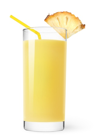 Glass of pineapple juice isolated on white Stock Photo - 8297191