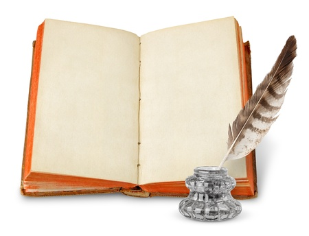 hardcover: Old book with copy space and inkstand isolated on white