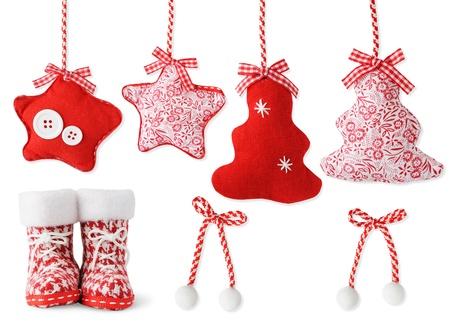 botas de navidad: Decoraci�n de Navidad a mano aislado en blanco