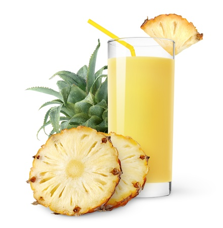 Pineapple juice and slices of pineapple isolated on white photo