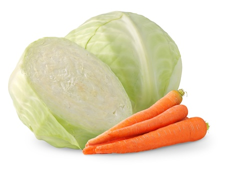 Cabbage and carrots isolated on white photo