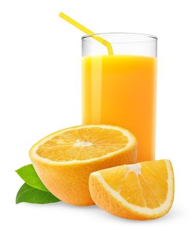 Orange juice and slices of orange isolated on white Stock Photo - 8420123