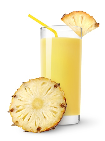 and pineapple juice: Pineapple juice and slices of pineapple isolated on white