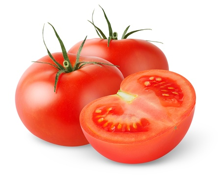 cross cut: Tomatoes isolated on white Stock Photo