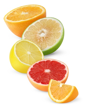 citruses: Citrus fruits isolated on white