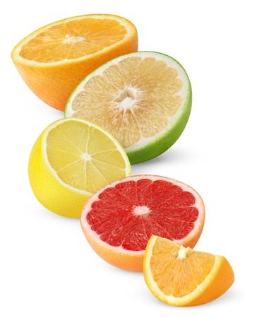 Citrusvruchten geïsoleerd op wit