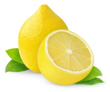 레몬: 레몬은 흰색에 고립