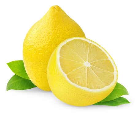 with lemon: Lemons isolated on white