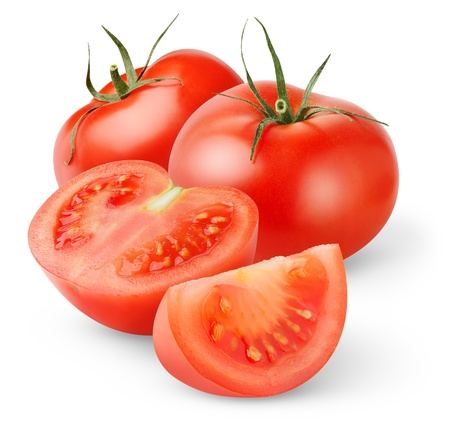 Fresh tomatoes isolated on white